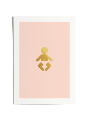 Pink Baby Girl A4 Print