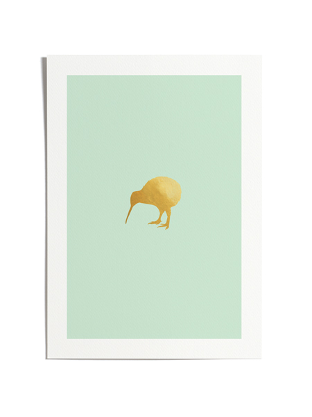 Mint & Gold Kiwi Print